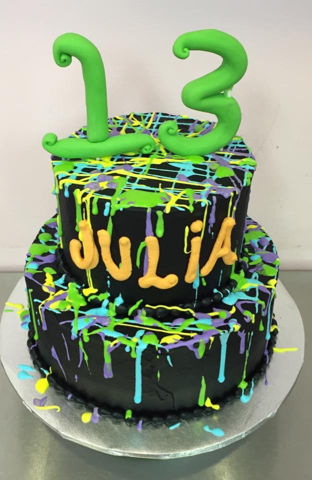 Fantastic Paint Splatter Cake Alyssas Cakery Personalised Birthday Cards Sponlily Jamesorg
