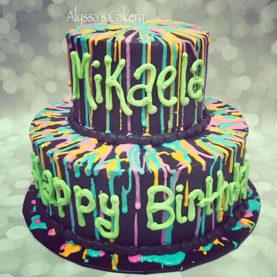 Stupendous Paint Splatter Cake Alyssas Cakery Personalised Birthday Cards Sponlily Jamesorg