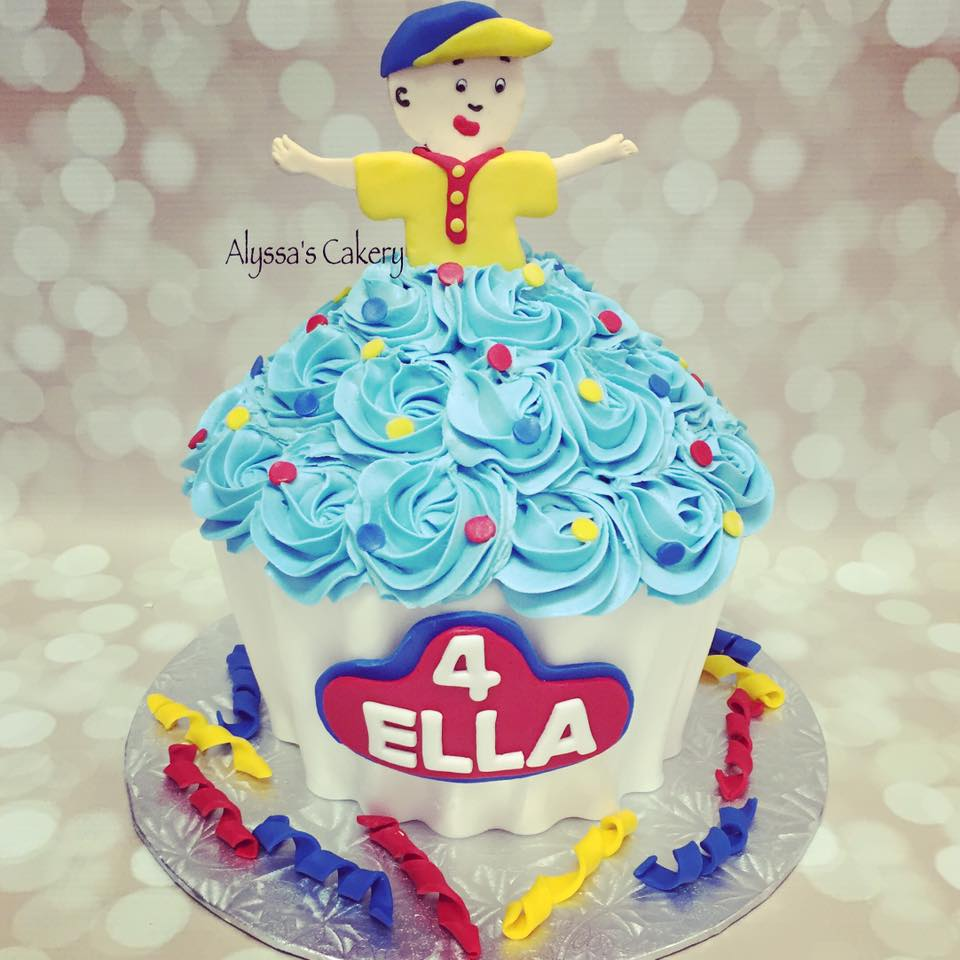 Fine Caillou Cupcake Cake Alyssas Cakery Funny Birthday Cards Online Alyptdamsfinfo