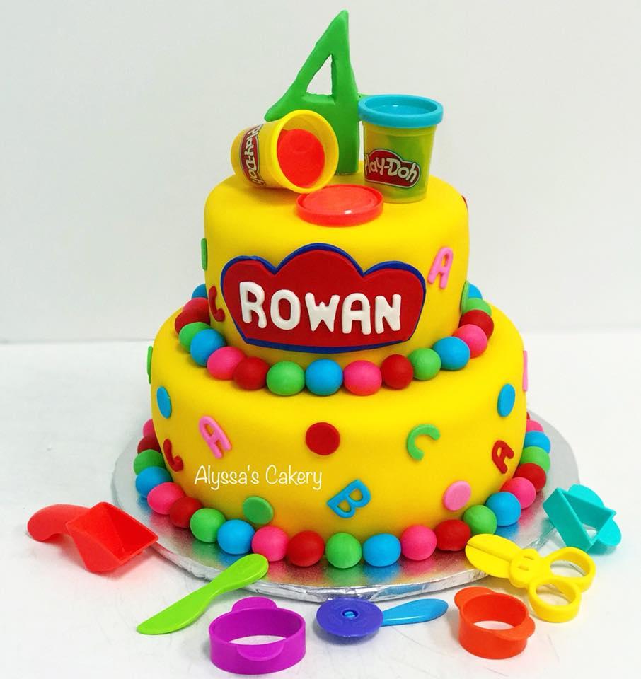 Outstanding Play Doh Tiered Cake Alyssas Cakery Personalised Birthday Cards Veneteletsinfo